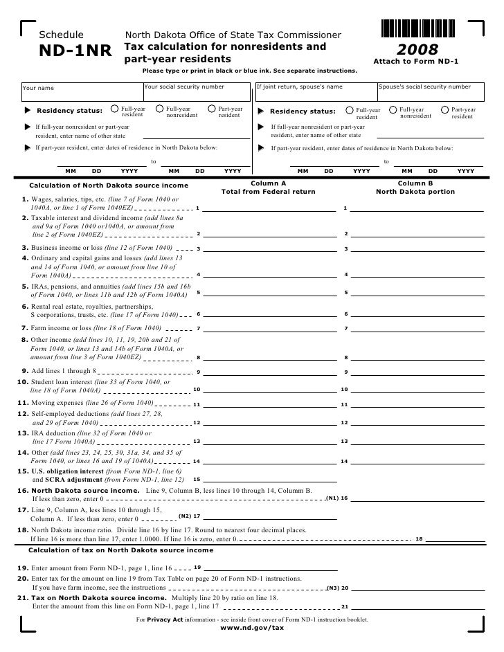 Nd1nr Enabled Nd Tax Indincome Forms 2008