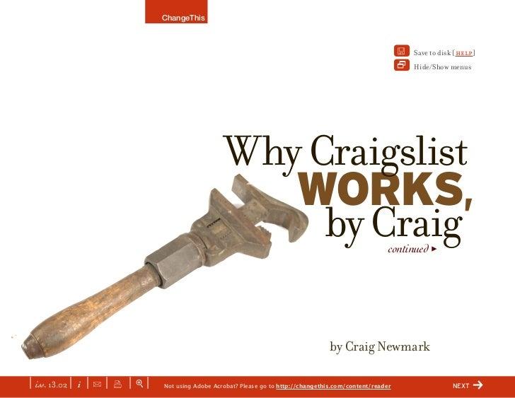 Why Craigslist Works, By Craig