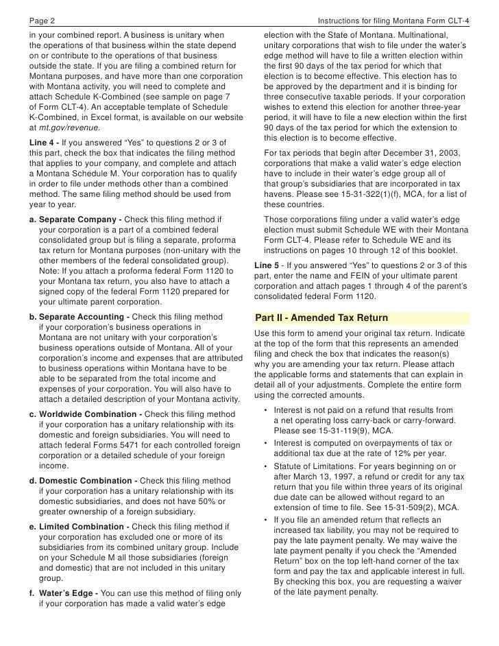 2008 clt 4 booklet final page 2 instructions for ling montana form clt 4 in your combined report a business is unitary when election with the state of montana sciox Choice Image