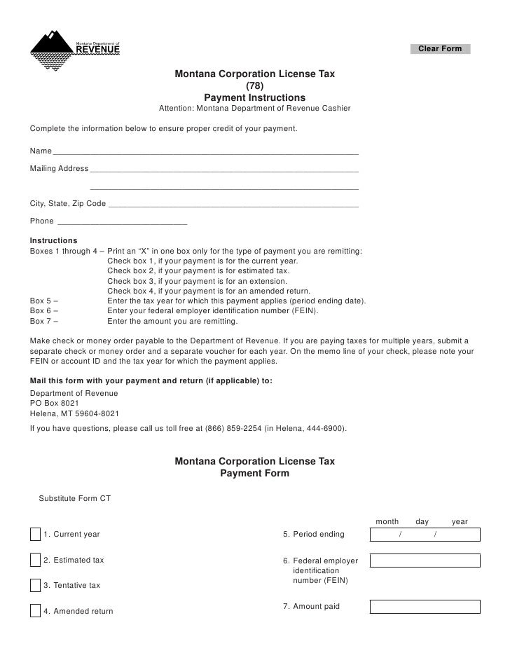 Clear Form                                           Montana Corporation License Tax                                      ...