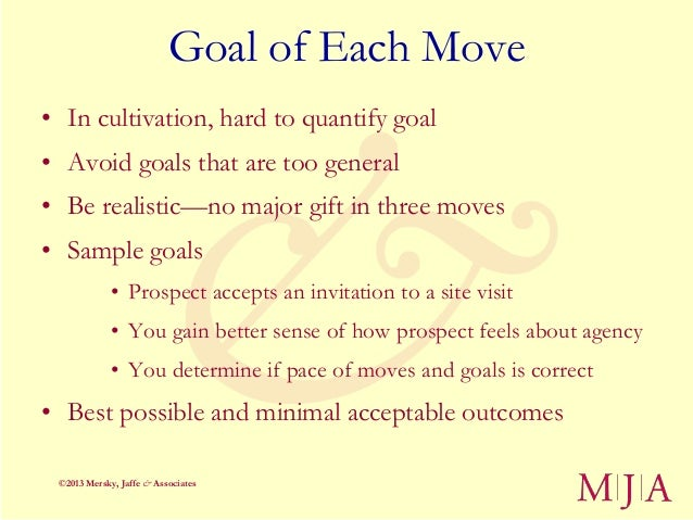 Goal of Each Move• In cultivation, hard to quantify goal• Avoid goals that are too general• Be realistic—no major gift in ...