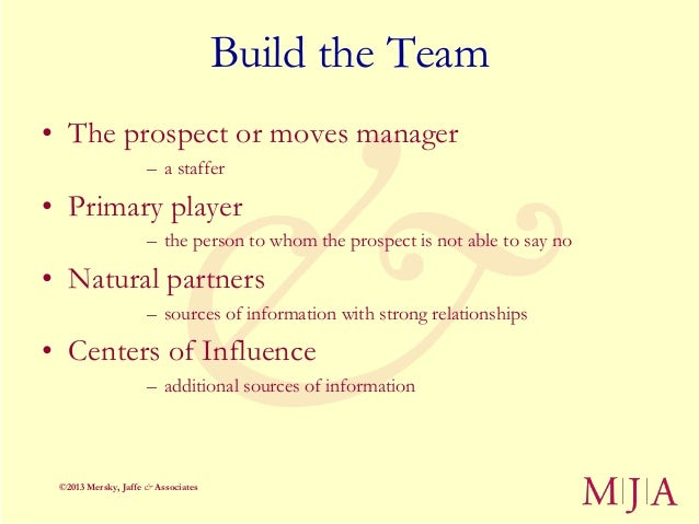 Build the Team• The prospect or moves manager                     – a staffer• Primary player                     – the pe...