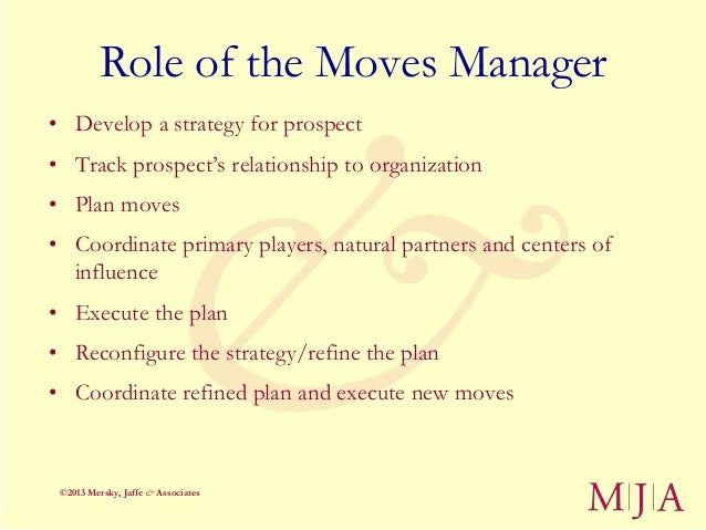 Role of the Moves Manager• Develop a strategy for prospect• Track prospect's relationship to organization• Plan moves• Coo...