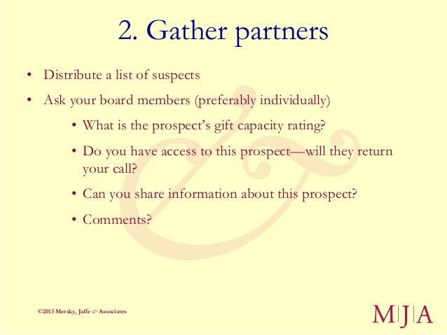 2. Gather partners• Distribute a list of suspects• Ask your board members (preferably individually)              • What is...