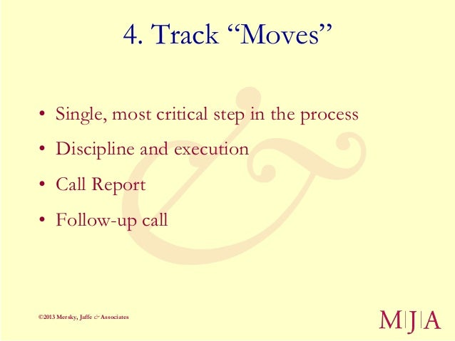 """4. Track """"Moves""""• Single, most critical step in the process• Discipline and execution• Call Report• Follow-up call©2013 Me..."""