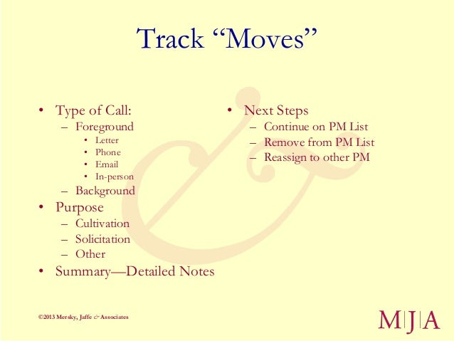 """Track """"Moves""""• Type of Call:                          • Next Steps        – Foreground                        – Continue o..."""