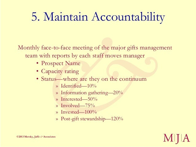 5. Maintain Accountability Monthly face-to-face meeting of the major gifts management   team with reports by each staff mo...