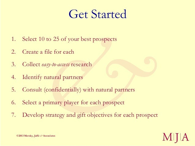 Get Started1. Select 10 to 25 of your best prospects2. Create a file for each3. Collect easy-to-access research4. Identify...