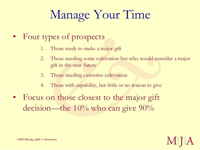 Manage Your Time• Four types of prospects                   1.      Those ready to make a major gift                   2. ...