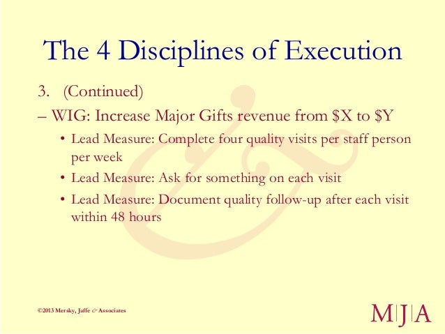 The 4 Disciplines of Execution3. (Continued)– WIG: Increase Major Gifts revenue from $X to $Y        • Lead Measure: Compl...