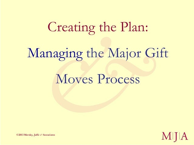 Creating the Plan:         Managing the Major Gift                                   Moves Process©2013 Mersky, Jaffe & As...