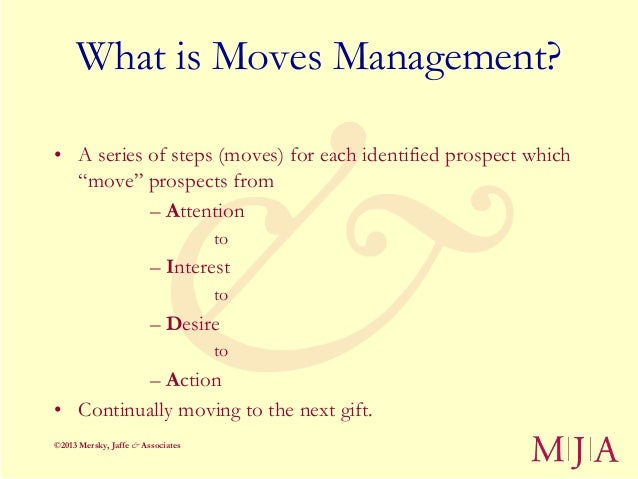 """What is Moves Management?• A series of steps (moves) for each identified prospect which  """"move"""" prospects from           –..."""