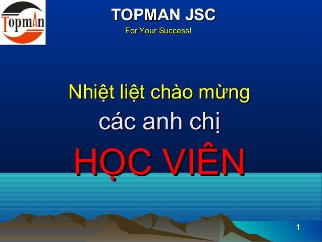 TOPMAN JSC      For Your Success!Nhiệt liệt chào mừng   các anh chịHỌC VIÊN                          1