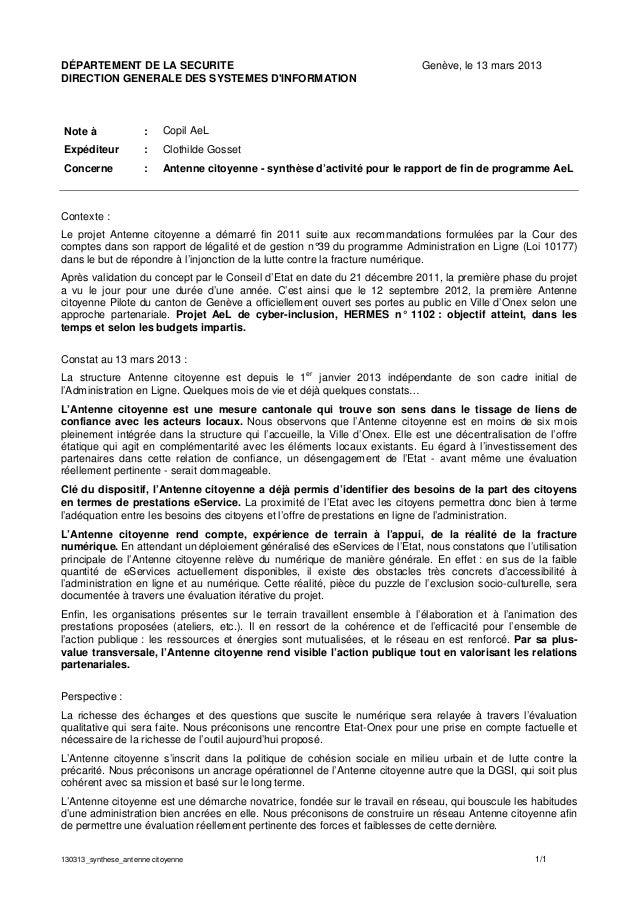 130313_synthese_antenne citoyenne 1/1DÉPARTEMENT DE LA SECURITE Genève, le 13 mars 2013DIRECTION GENERALE DES SYSTEMES DIN...