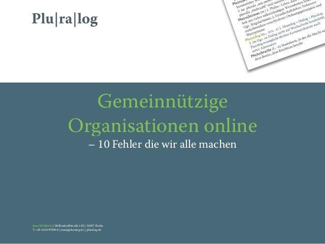 Gemeinnützige                          Organisationen online                                         – 10 Fehler die wir a...