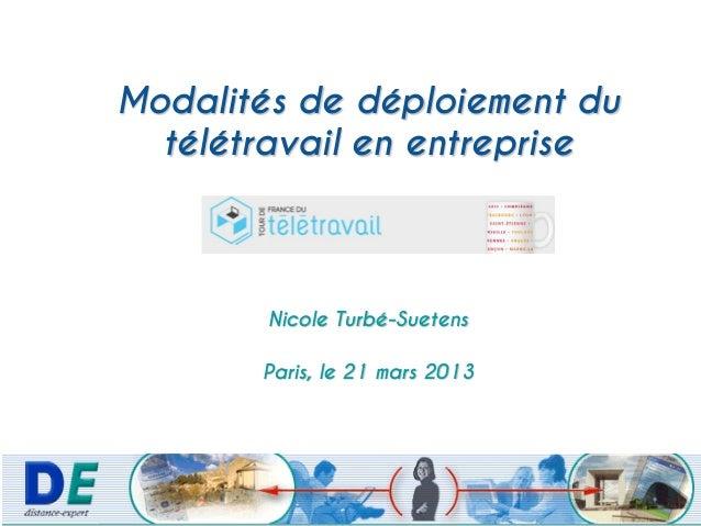 Modalités de déploiement du  télétravail en entreprise        Nicole Turbé-Suetens       Paris, le 21 mars 2013