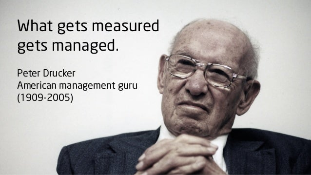 What gets measuredgets managed.Peter DruckerAmerican management guru(1909-2005)