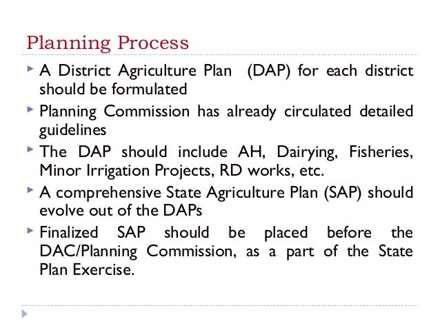 Planning Process A District Agriculture Plan (DAP) for each district  should be formulated Planning Commission has alrea...