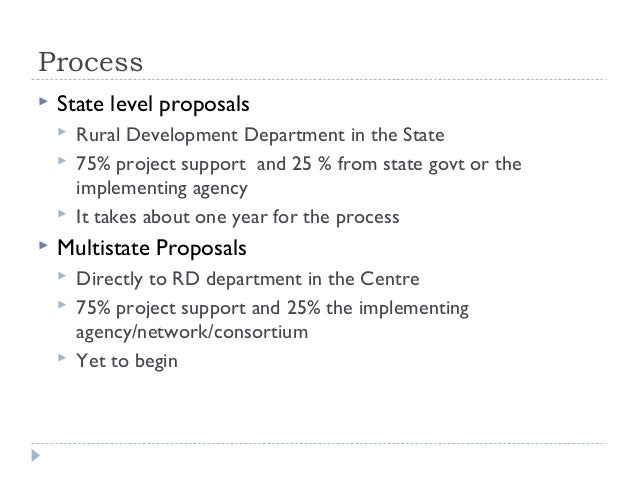 Process   State level proposals       Rural Development Department in the State       75% project support and 25 % from...