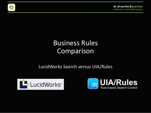 Business Rules       ComparisonLucidWorks Search versus UIA/Rules