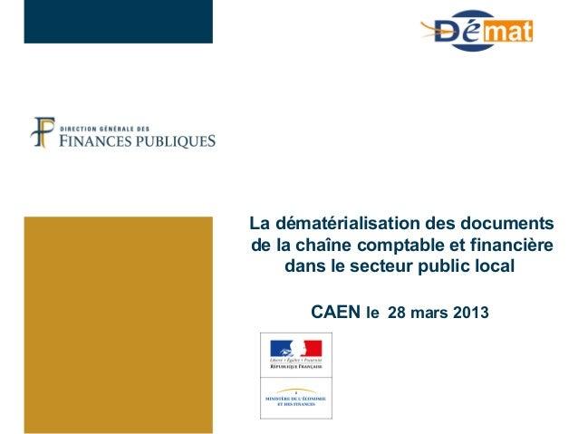 La dématérialisation des documentsde la chaîne comptable et financièredans le secteur public localCAEN le 28 mars 2013