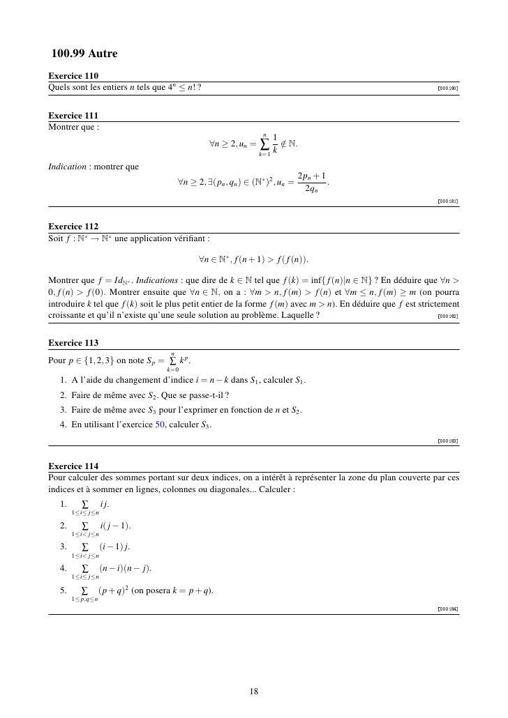 100.99 AutreExercice 110Quels sont les entiers n tels que 4n ≤ n! ?                                                       ...