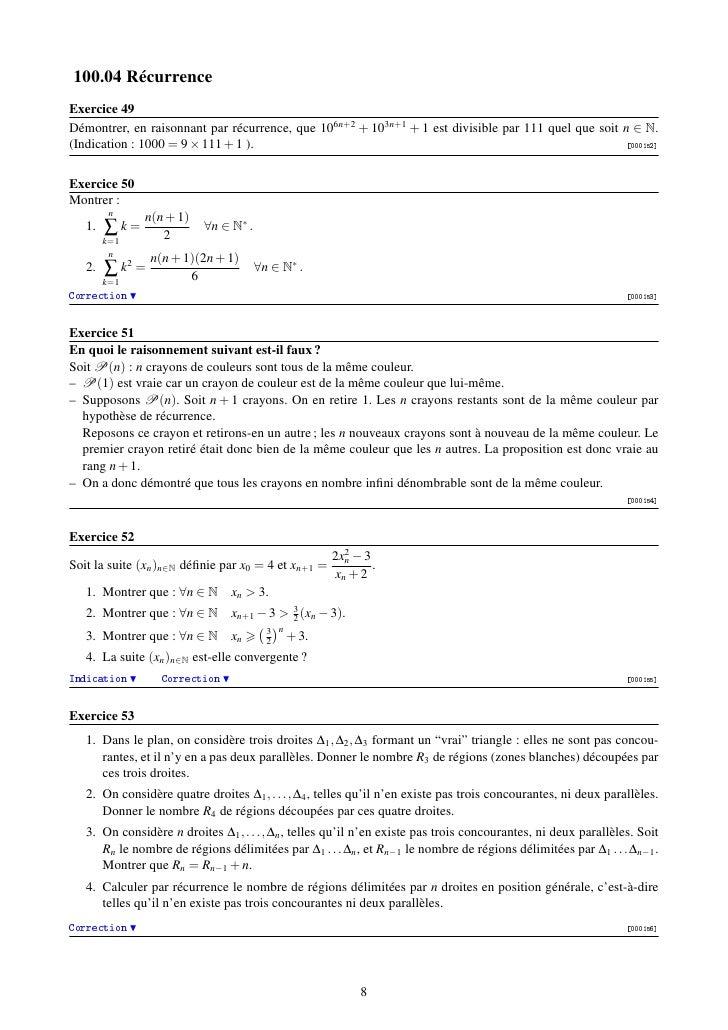 100.04 RécurrenceExercice 49Démontrer, en raisonnant par récurrence, que 106n+2 + 103n+1 + 1 est divisible par 111 quel qu...