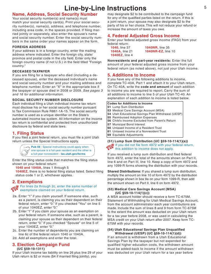 Taxutah Forms Current Tc Tc 40inst