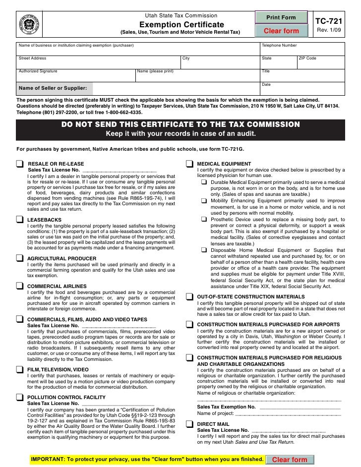 utah sales tax exempt form - Denmar.impulsar.co