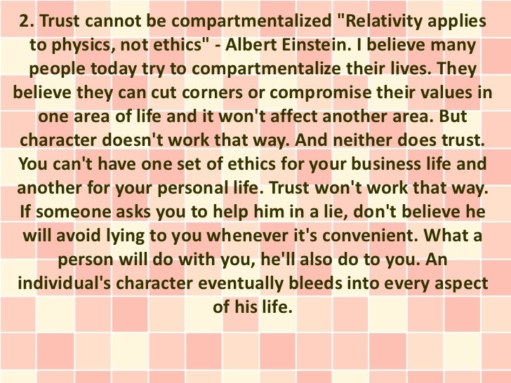 Compartmentalize relationships