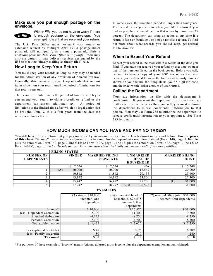 Arizona Income Tax Form 140 2016 Image Information