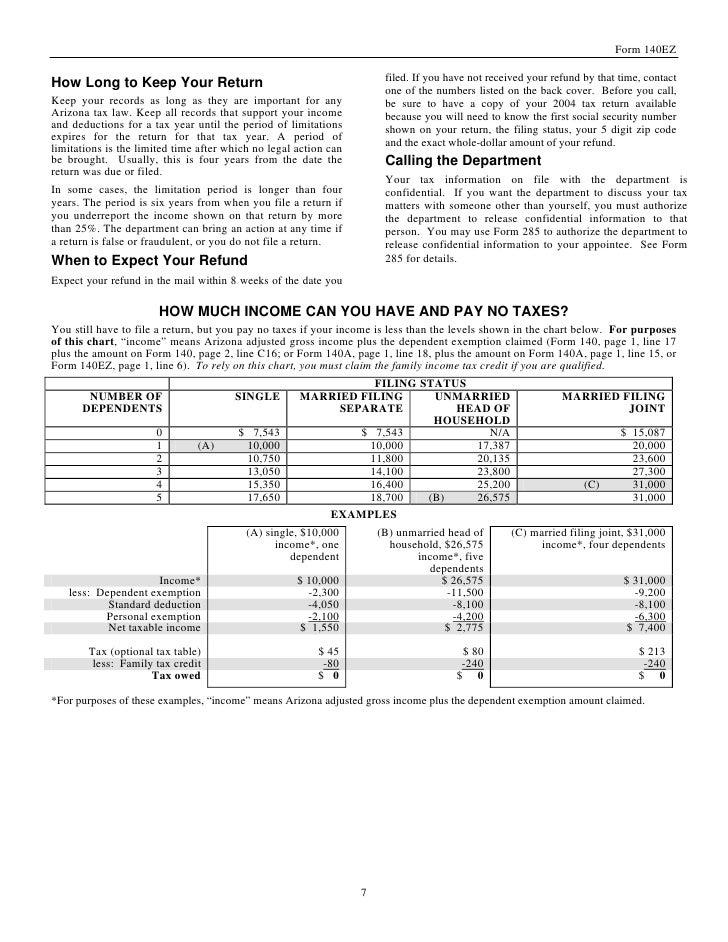azdor.gov Forms instr%20140EZ