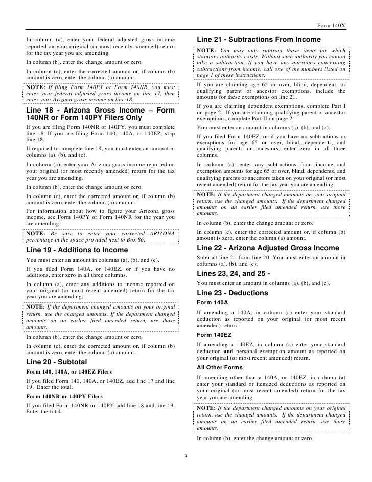 azdor.gov Forms 140X%20instructions
