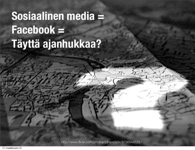 Sosiaalinen media =        Facebook =        Täyttä ajanhukkaa?                     CC: http://www.flickr.com/photos/jdhanc...