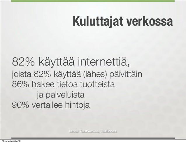 Kuluttajat verkossa         82% käyttää internettiä,         joista 82% käyttää (lähes) päivittäin         86% hakee tieto...