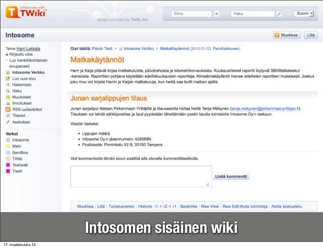 Intosomen sisäinen wiki17. maaliskuuta 13