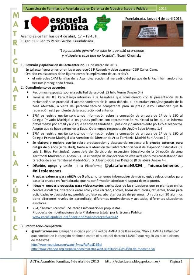 Asamblea de Familias de Fuenlabrada en Defensa de Nuestra Escuela Pública                    2013M                        ...