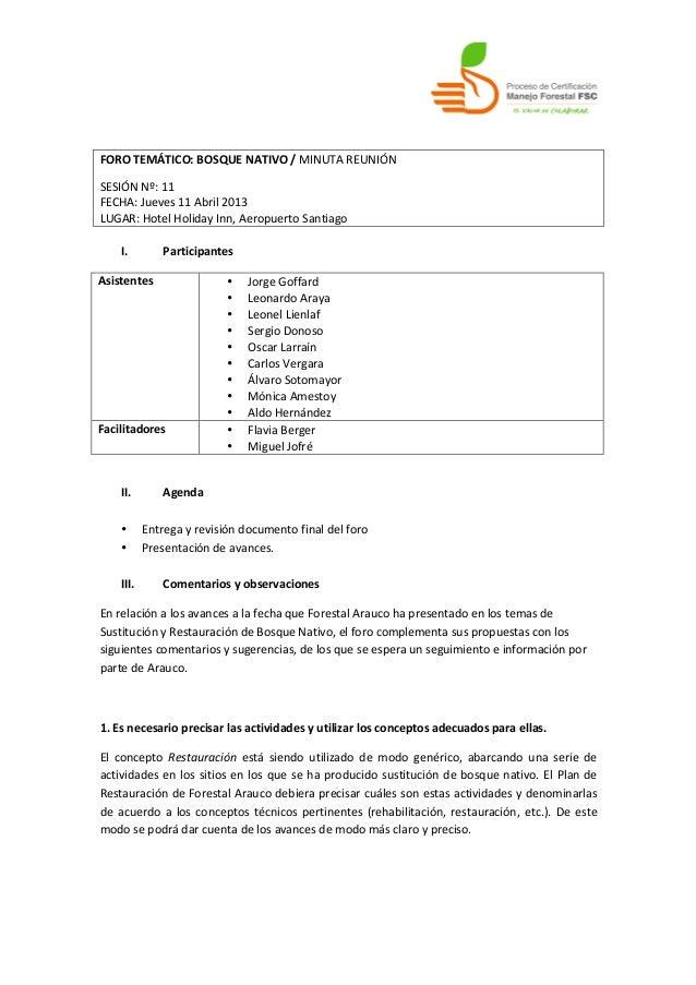 FORO TEMÁTICO: BOSQUE NATIVO / MINUTA REUNIÓN  SESIÓN Nº: 11 FECHA: Jueves 11 Abril 2013 ...