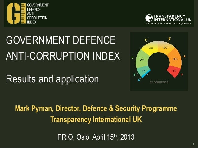 GOVERNMENT DEFENCE ANTI-CORRUPTION INDEX Results and application Mark Pyman, Director, Defence & Security Programme Transp...