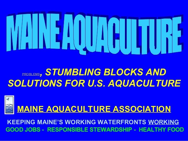 PROBLEMS, STUMBLING BLOCKS AND SOLUTIONS FOR U.S. AQUACULTURE MAINE AQUACULTURE ASSOCIATION KEEPING MAINE'S WORKING WATERF...