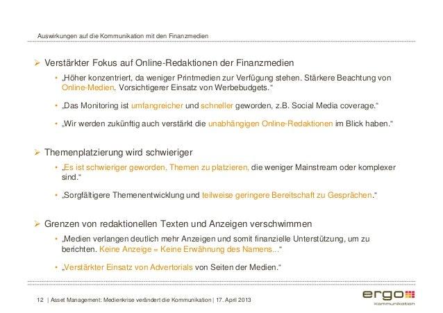 """Auswirkungen auf die Kommunikation mit den Finanzmedien   Verstärkter Fokus auf Online-Redaktionen der Finanzmedien  • """"H..."""
