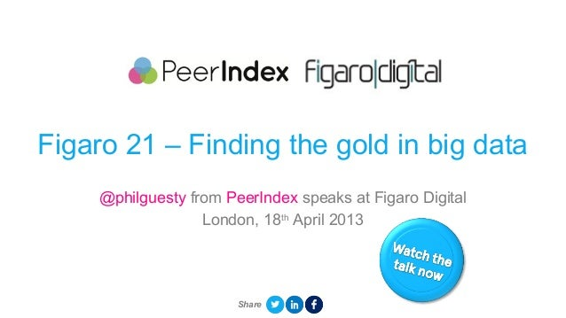 Figaro 21 – Finding the gold in big data@philguesty from PeerIndex speaks at Figaro DigitalLondon, 18thApril 2013Share