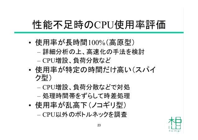 性能不足時のCPU使用率評価 • 使用率が長時間100%(高原型) – 詳細分析の上、高速化の手法を検討 – CPU増設、負荷分散など • 使用率が特定の時間だけ高い(スパイ ク型) – CPU増設、負荷分散などで対処 – 処理時...
