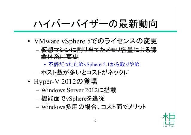 ハイパーバイザーの最新動向 • VMware vSphere 5でのライセンスの変更 – 仮想マシンに割り当てたメモリ容量による課 金体系に変更 • 不評だったためvSphere 5.1から取りやめ – ホスト数が多いとコストがネック...