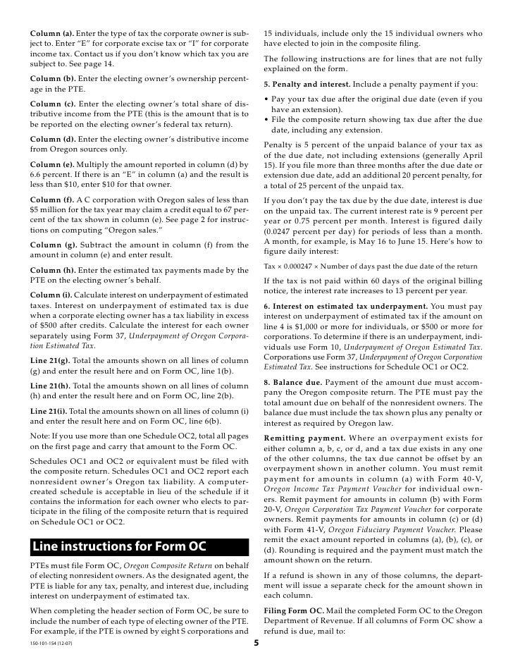 egov.oregon.gov DOR PERTAX 101-154-07