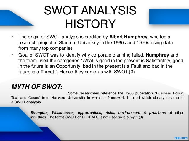 external and internal analysis of a A swot (strengths, weaknesses, opportunities and threats) analysis is a  a  swot analysis involves considering both the internal and external factors that  may.