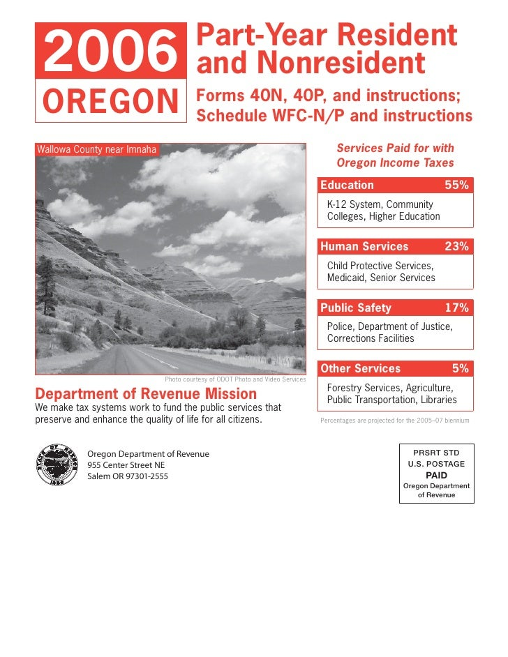 Part-Year Resident  2006                                   and Nonresident  OREGON                                 Forms 4...