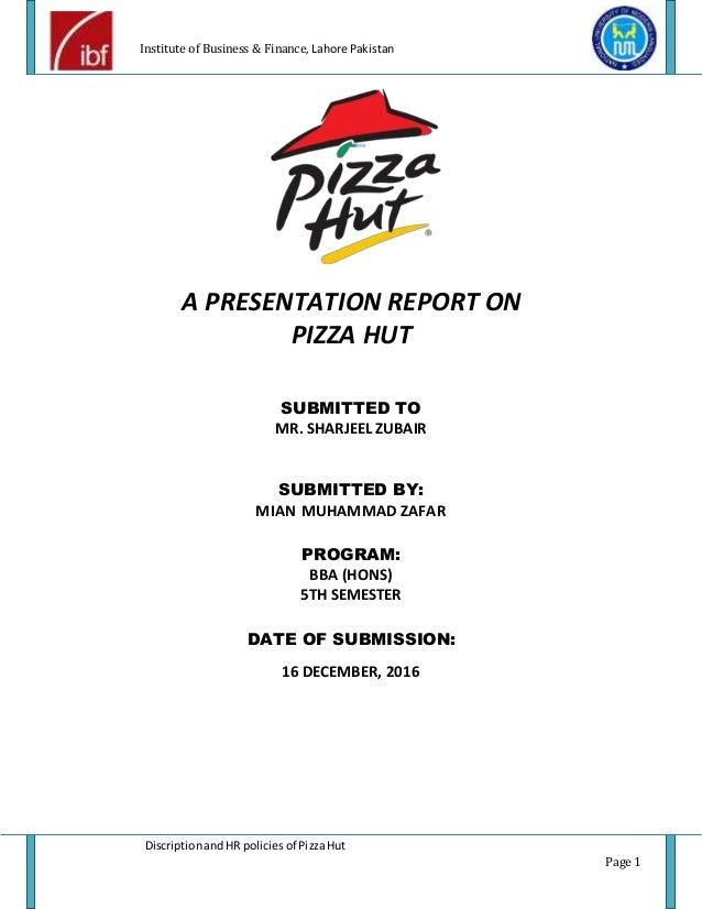 Pizza hut job description