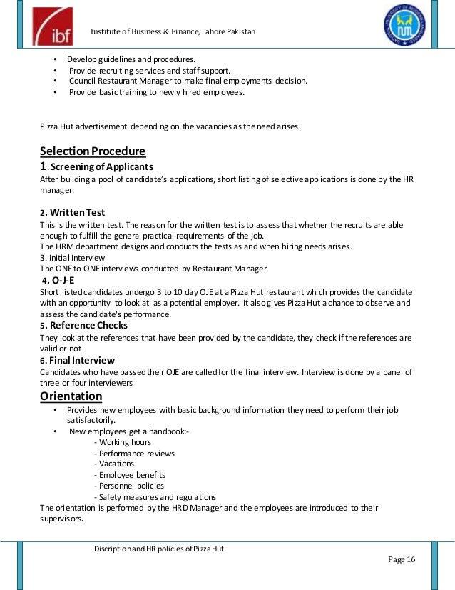 Pizza hut description and HR policies | project report of pizza hut