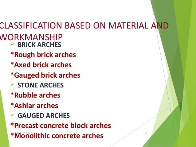 CLASSIFICATION BASED ON MATERIAL AND WORKMANSHIP  BRICK ARCHES *Rough brick arches *Axed brick arches *Gauged brick arche...